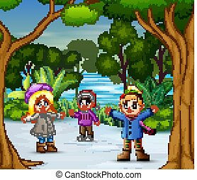 Three girls playing on the snow illustration