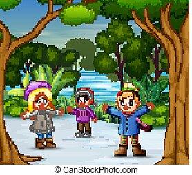 Three girls playing on the snow illustration