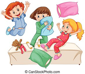 Three girls playing pillow fight at the slumber party...
