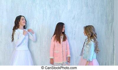 Three girls schoolgirl dance to music - Three girls...
