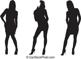 three girls silhouette