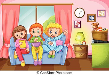 Three girls sitting on sofa at home illustration