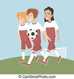 three girls soccer players with ball vector cartoon