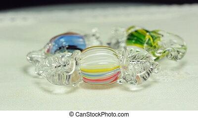 Three glass blown candies