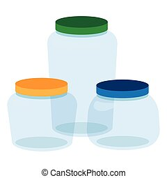 Three, Glass Jars Bottles Empty Transparent.