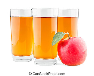 Three glasses of juice and red apple with leaf