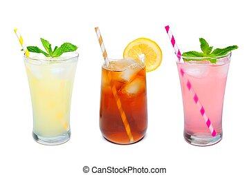 Three glasses of summer lemonade, iced tea, and pink...