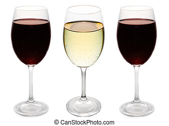 three glasses of wine - two glasses of red and one of white...