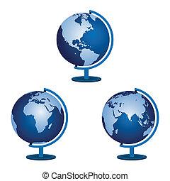 Three globe on a white background