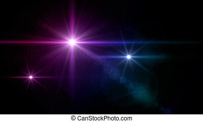 three glow stars lens flare blue