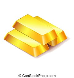 Three gold bars icon isolated on white background