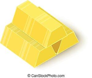 Three gold bars icon, isometric 3d style