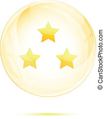 Three golden star in the glass sphere