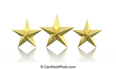 Three golden stars isolated on white background