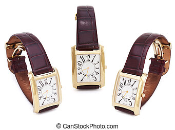 Three Golden Wristwatches isolated
