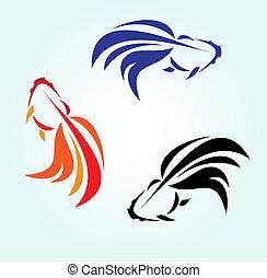 goldfish - Three goldfish on blue background, vector
