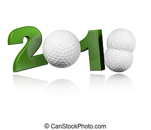 Three Golf balls 2018 Design with a white Background