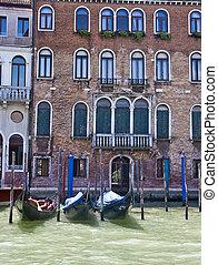 Three Gondolas on Canal