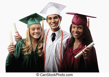 three graduates in cap and gown