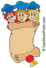 Three graduating kids with scroll - vector illustration.