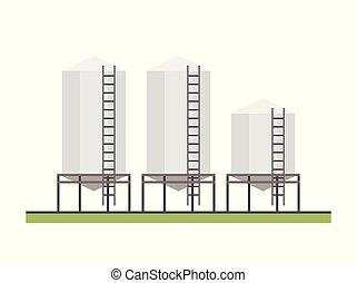 Three Granary, flat style. vector background