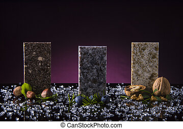 Three granite samples of kitchen countertops