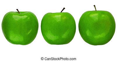 Three Granny Smith apples