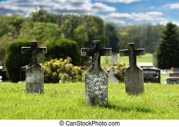 Three graves with crosses situated in a small graveyard, done in vibrant colors to signify peace