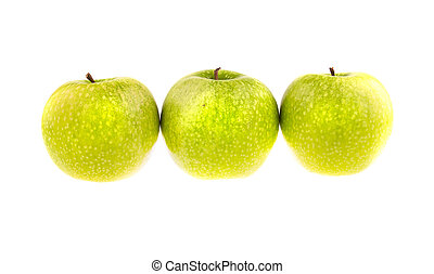 Three green apples isolated on white background.