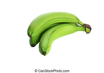 three green bananas isolated on the white background. no shade
