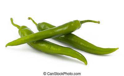 Three green chili peppers on white