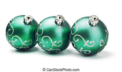 three green decoration balls