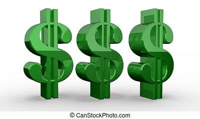 Three Green Dollar Signs Spinning