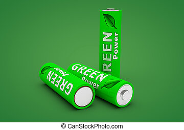 Three Green Eco Batteries on Green