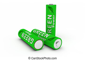 Three Green Eco Batteries on White - three green LR 6 1.5...