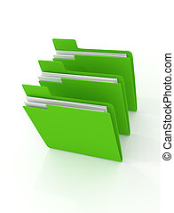 Three green folder 3d rendering