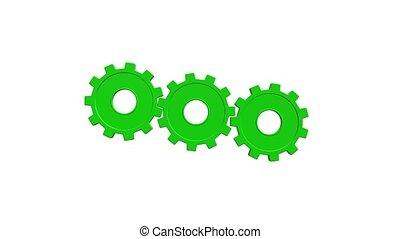 Three green gears spinning flies . White background. Alpha channel