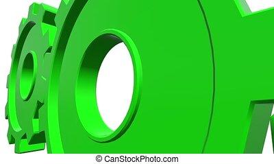 Three green gears. White background. Alpha channel