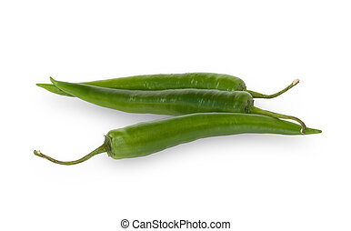 Three green hot chili peppers isolated