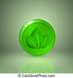 Three green leaves. Icon for app or web design