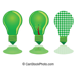 three green light bulb illustration
