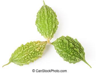 three green momordica or karela isolated on white...