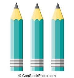 three green pencil