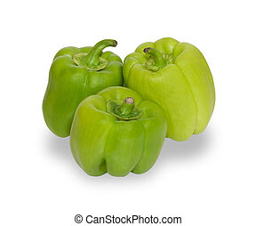 Three green peppers isolated