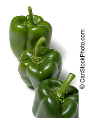 three green peppers vertical