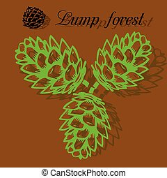 Three green pine cones, silhouette on brown background,