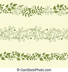 Three vector green plants horizontal seamless pattern background set with abstract plants with fun leaves and branches forming a floral texture.