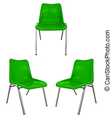 plastic chairs on white background