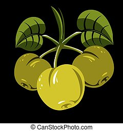 Three green simple vector apples with leaves, ripe sweet...