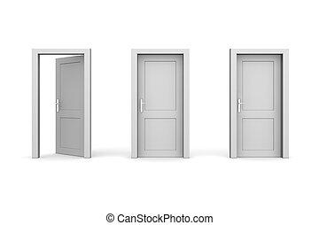 line of three grey doors - door and door frame, no walls - two doors closed, the left one is open
